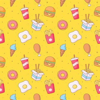 Naadloze patroon schattige grappige fastfood kawaii stijl iconen