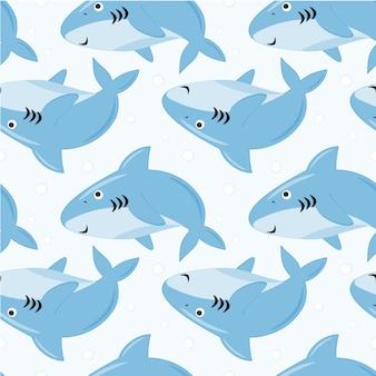 Naadloze patroon schattige haaien met bubbels