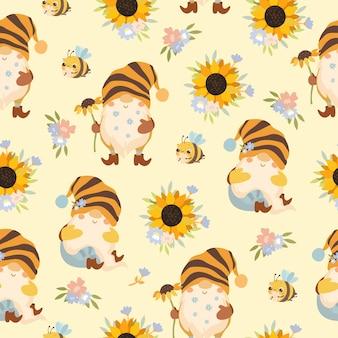 Naadloze patroon schattige kabouters met zonnebloemen