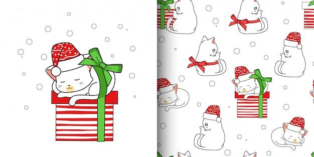 Naadloze patroon schattige kat en geschenkdoos