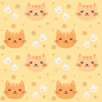 Naadloze patroon schattige kat en kat poot.