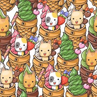 Naadloze patroon schattige kat en taiyaki ijs