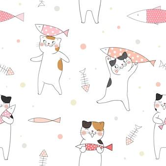 Naadloze patroon schattige kat met vis op wit.