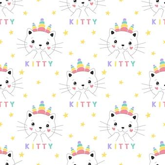 Naadloze patroon schattige kitty eenhoorn