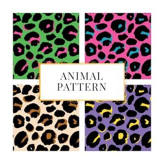 Naadloze patroon set luipaard print