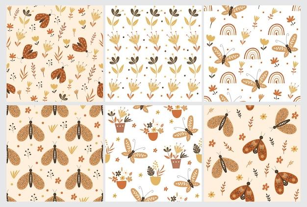 Naadloze patroon set met bloemen elementen en vlinders. vector illustratie.