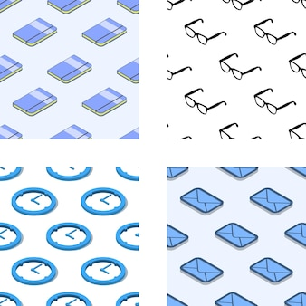 Naadloze patroon set met office gerelateerde items isometrisch. eps