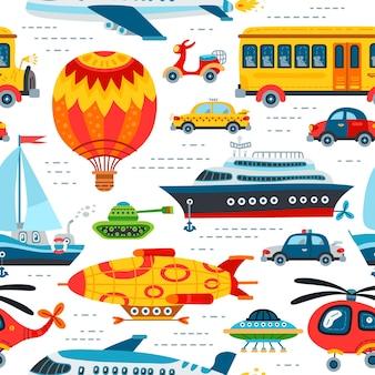 Naadloze patroon speelgoed vervoer achtergrond voor babyjongen. schattige kinderen ontwerp