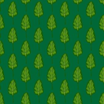 Naadloze patroon spinaziesalade op blauwgroen achtergrond. minimalistisch ornament met sla.