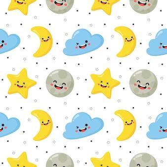 Naadloze patroon sterren, maan en wolken. kawaii behang op witte achtergrond.