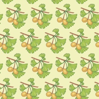 Naadloze patroon. takken van ginkgo biloba. illustratie voor verpakking, papier, behang, stoffen, textiel.