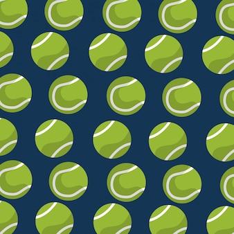 Naadloze patroon tennisbal apparatuur blauwe achtergrond