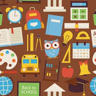 Naadloze patroon terug naar school en onderwijs objecten over bruin. vlakke stijl vector naadloze textuur achtergrond. verzameling van sjablonen voor wetenschap en onderwijs. universiteit en hogeschool