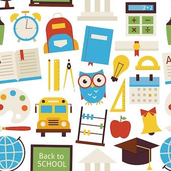 Naadloze patroon terug naar school objecten over wit. vlakke stijl vector naadloze textuur achtergrond. verzameling van sjablonen voor wetenschap en onderwijs. universiteit en hogeschool