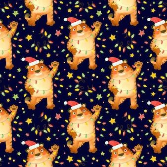 Naadloze patroon tijger in een nieuwjaarshoed met slingers het symbool van het nieuwe jaar 2022