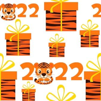 Naadloze patroon tijger nieuwjaar 2022 met geschenken voor grafisch ontwerp