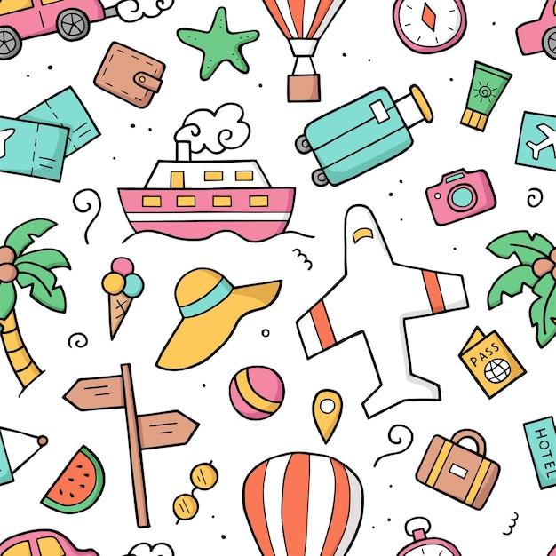 Naadloze patroon toerisme elementen. doodle schets. hand getekende schattige reisobjecten.