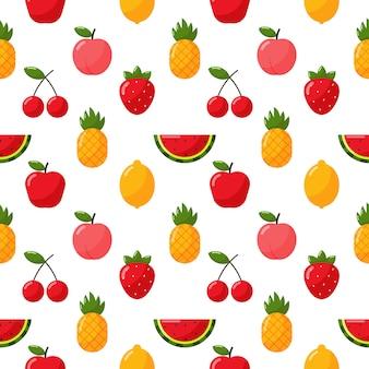 Naadloze patroon tropisch fruit isoleren op wit