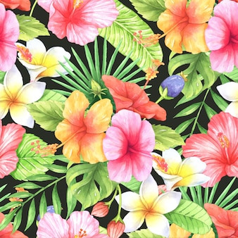 Naadloze patroon tropische aquarel
