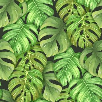 Naadloze patroon tropische bladeren aquarel