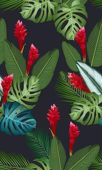 Naadloze patroon tropische bladeren met bloem