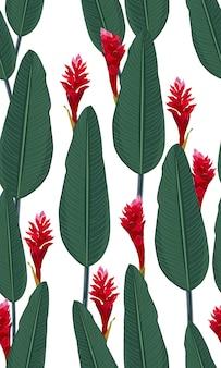 Naadloze patroon tropische bladeren met rode gember