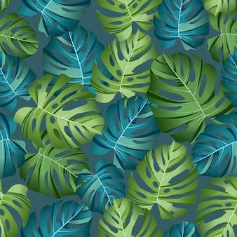 Naadloze patroon tropische bladeren