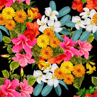 Naadloze patroon tropische bloem in kleur brillante stijl