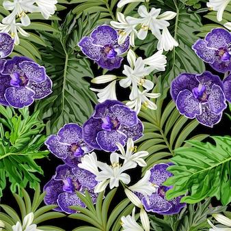Naadloze patroon tropische bloem