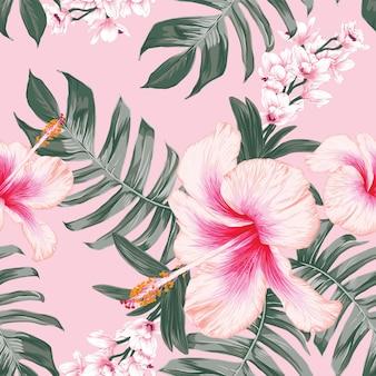 Naadloze patroon tropische natuur achtergrond met hand tekenen bloemen en bladeren