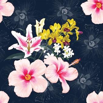 Naadloze patroon tropische natuur achtergrond met hand tekenen bloemen