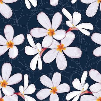 Naadloze patroon tropische natuur met hand tekenen bloemen Premium Vector