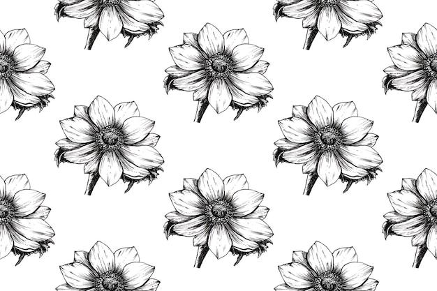 Naadloze patroon van anemoon bloem hand getrokken