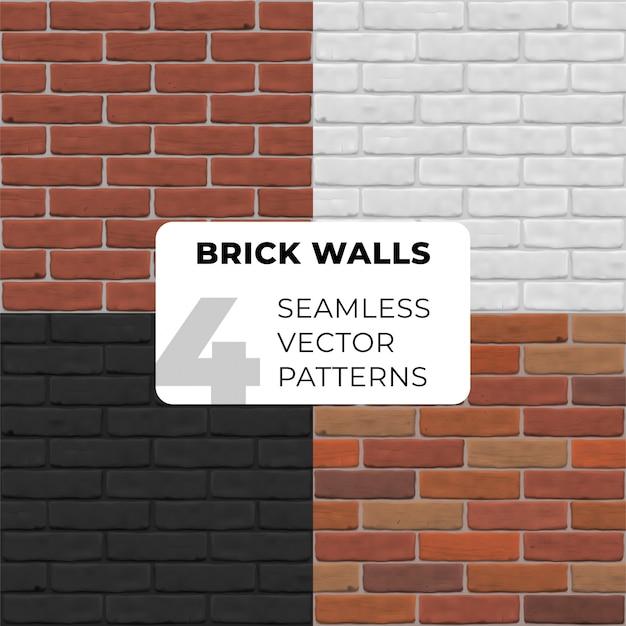 Naadloze patroon van bakstenen muren. bruine, witte, rode, zwarte steentextuur voor banner, binnenland, website, spel, achtergrond. set van fotorealistische close-up