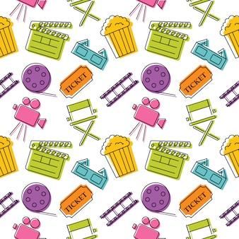 Naadloze patroon van bioscoop kleurrijke pictogrammen. borden en symbolen inzamelpictogram voor websites