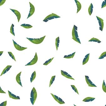 Naadloze patroon van bladeren van natuurlijke takken, groene bladeren, kruiden, tropische planten.
