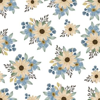 Naadloze patroon van blauwe bloem en zonnebloem