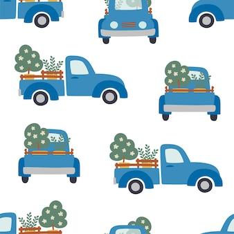 Naadloze patroon van blauwe boerderij pickups die fruitbomen vervoeren op witte achtergrond.