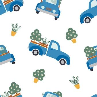 Naadloze patroon van blauwe boerderij pickups die planten vervoeren op witte achtergrond.