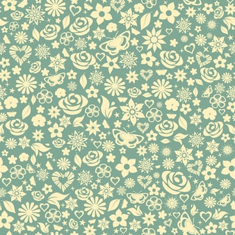 Naadloze patroon van bloemen, bladeren, sterren, vlinders en harten. geel op turkoois.