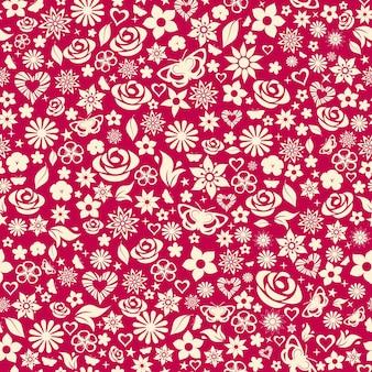 Naadloze patroon van bloemen, bladeren, sterren, vlinders en harten. wit op kastanjebruin.