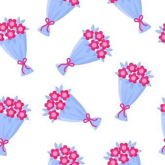 Naadloze patroon van boeket bloemen