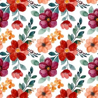 Naadloze patroon van bourgondische bloemenwaterverf