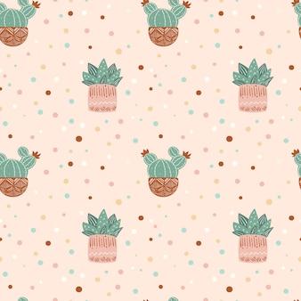 Naadloze patroon van cactussen herhalende achtergrond met cactus in potten en polka dots