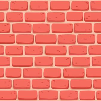 Naadloze patroon van cartoon bakstenen muur in koraal kleur.