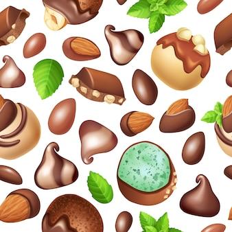 Naadloze patroon van chocoladesuikergoed met noten.