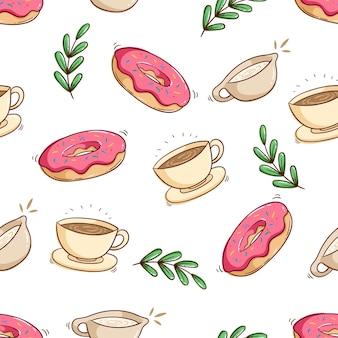 Naadloze patroon van dessert en een kopje koffie met hand tekenen stijl