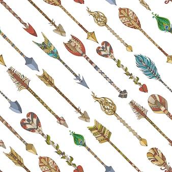 Naadloze patroon van diagonale tribale pijlen. decoratieve grenzeloze achtergrond.