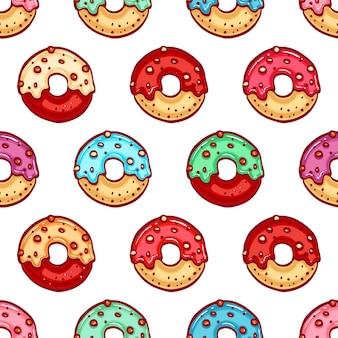 Naadloze patroon van donuts met kleurrijke glazuur