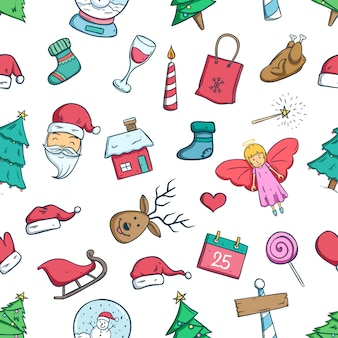 Naadloze patroon van doodle kerst iconen of elementen